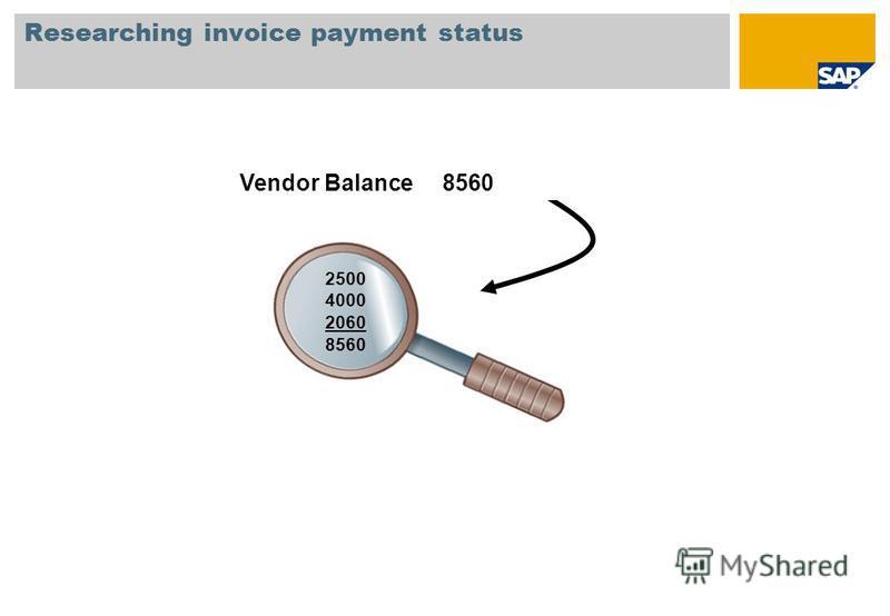 2500 4000 2060 8560 Researching invoice payment status Vendor Balance 8560