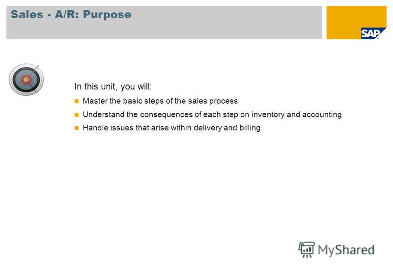 In this unit, you will: Master the basic steps of the sales process Understand the consequences of each step on inventory and accounting Handle issues that arise within delivery and billing Sales - A/R: Purpose