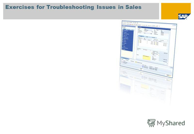 Exercises for Troubleshooting Issues in Sales