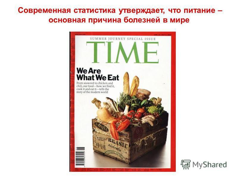 Современная статистика утверждает, что питание – основная причина болезней в мире