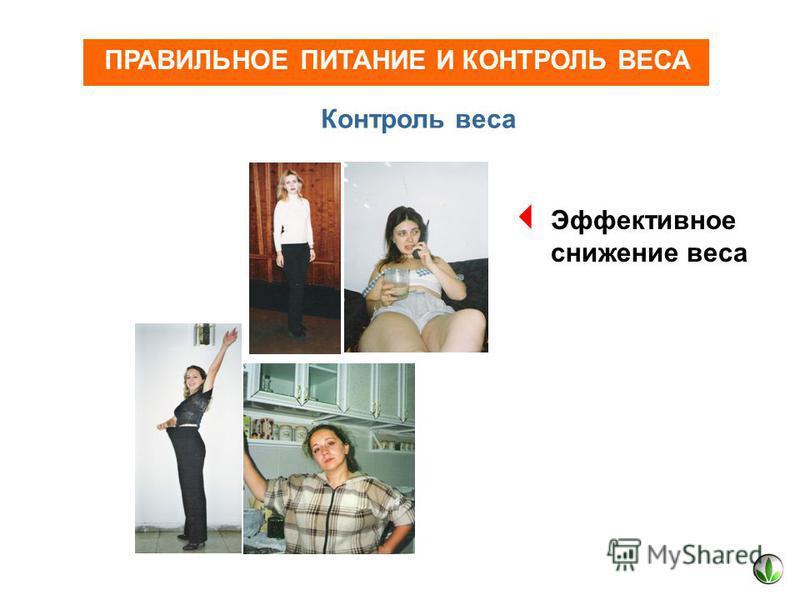 ПРАВИЛЬНОЕ ПИТАНИЕ И КОНТРОЛЬ ВЕСА Контроль веса Эффективное снижение веса