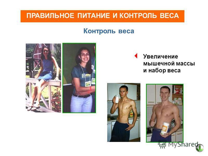 ПРАВИЛЬНОЕ ПИТАНИЕ И КОНТРОЛЬ ВЕСА Контроль веса Увеличение мышечной массы и набор веса