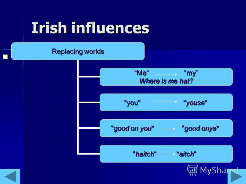 Irish influences Replacing worlds Me my Where is me hat? you youse good on you good onya haitch aitch