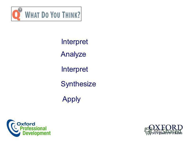 Analyze Interpret Synthesize Apply Interpret