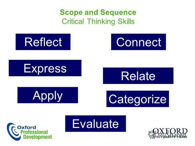 Scope and Sequence Critical Thinking Skills Reflect Relate Express Apply Categorize Connect Evaluate