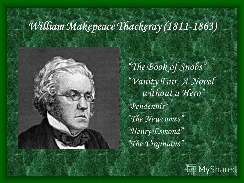 William Makepeace Thackeray (1811-1863) The Book of Snobs Vanity Fair, A Novel without a Hero Pendennis The Newcomes Henry Esmond The Virginians