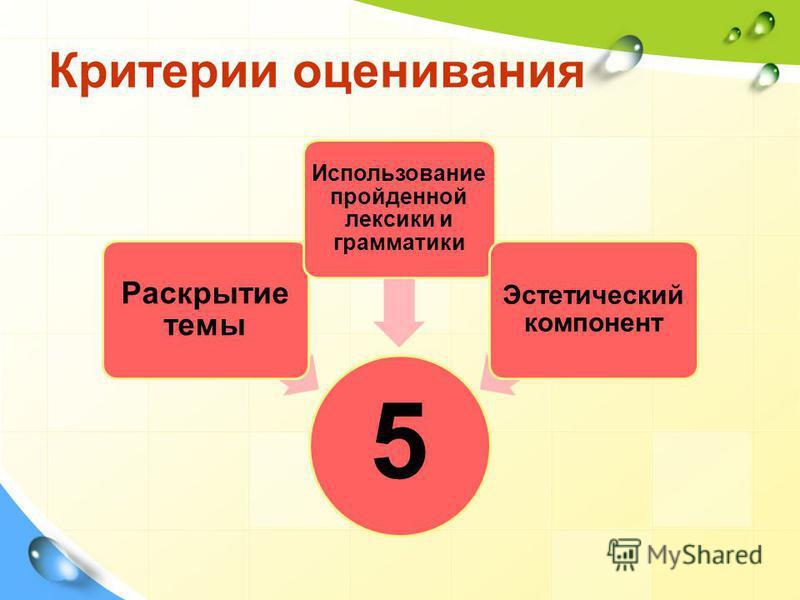 Критерии оценивания 5 Раскрытие темы Использование пройденной лексики и грамматики Эстетический компонент