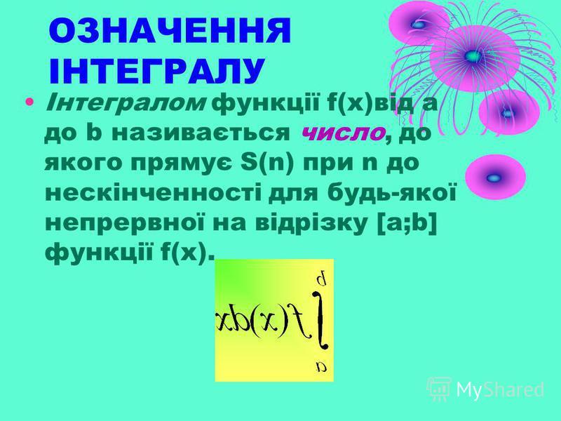 Теорема Якщо f-неперервна і додатня на [a,b] функція, а функція F – її первісна на цьому відрізку, то площа S відповідної криволінійної трапеції дорівнює приросту первісної на відрізку [a,b], тобто. S=F(b)-F(a)