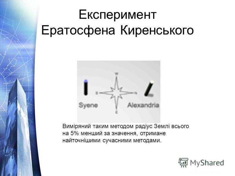 Експеримент Ератосфена Киренського Виміряний таким методом радіус Землі всього на 5% менший за значення, отримане найточнішими сучасними методами.