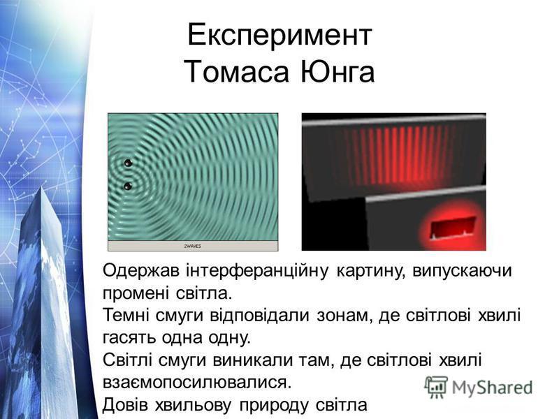 Експеримент Томаса Юнга Одержав інтерферанційну картину, випускаючи промені світла. Темні смуги відповідали зонам, де світлові хвилі гасять одна одну. Світлі смуги виникали там, де світлові хвилі взаємопосилювалися. Довів хвильову природу світла