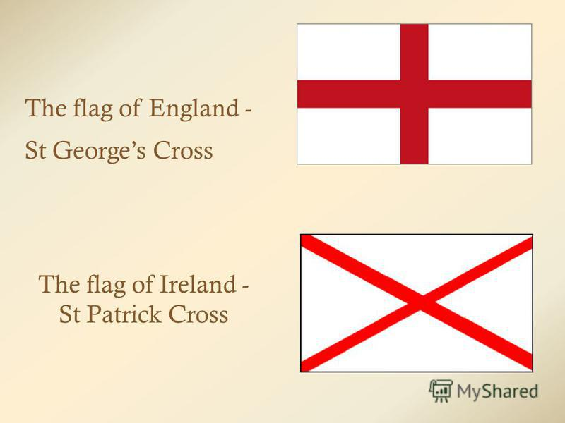 The flag of England - St Georges Cross The flag of Ireland - St Patrick Cross
