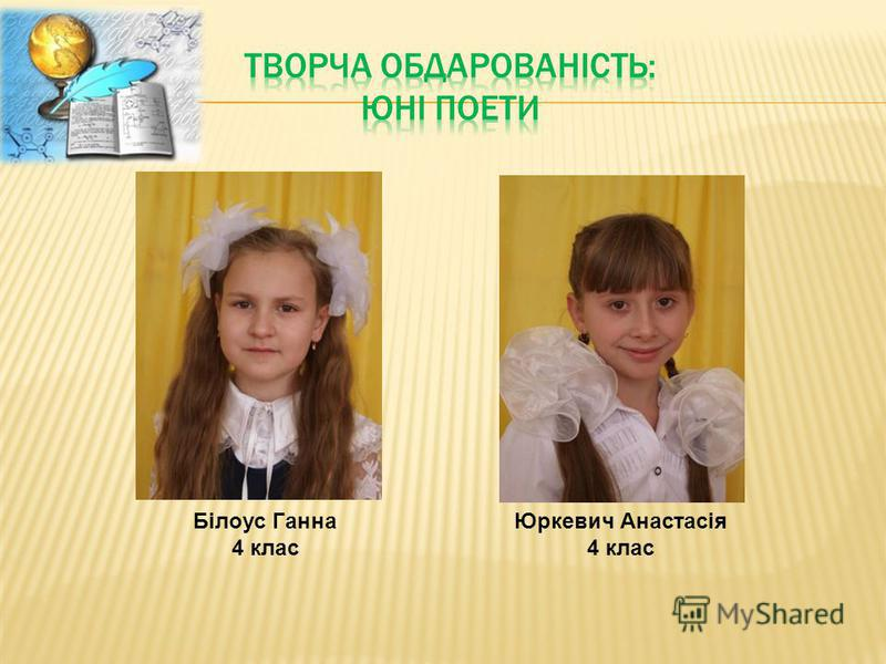 Білоус Ганна 4 клас Юркевич Анастасія 4 клас