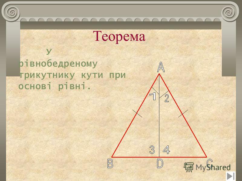Теорема У рівнобедреному трикутнику кути при основі рівні.
