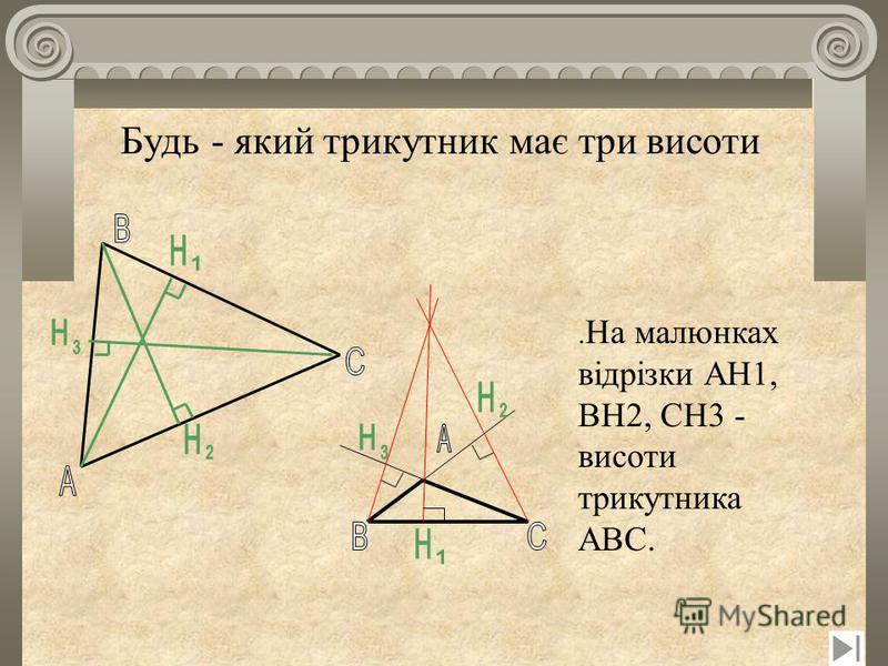 Будь - який трикутник має три висоти. На малюнках відрізки AH1, BH2, CH3 - висоти трикутника ABC.