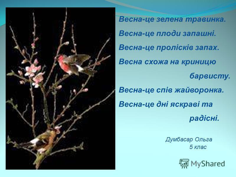 Весна-це зелена травинка. Весна-це плоди запашні. Весна-це пролісків запах. Весна схожа на криницю барвисту. Весна-це спів жайворонка. Весна-це дні яскраві та радісні. Думбасар Ольга 5 клас