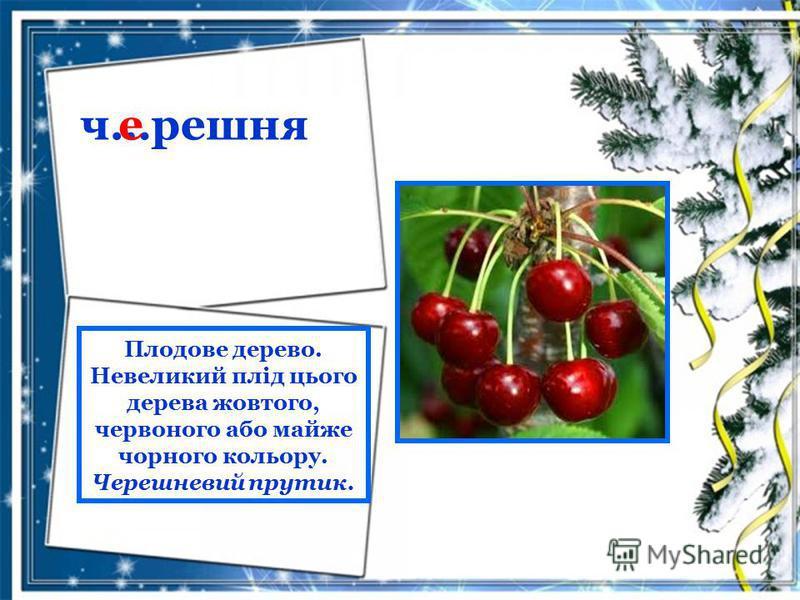 ч…решня е Плодове дерево. Невеликий плід цього дерева жовтого, червоного або майже чорного кольору. Черешневий прутик.