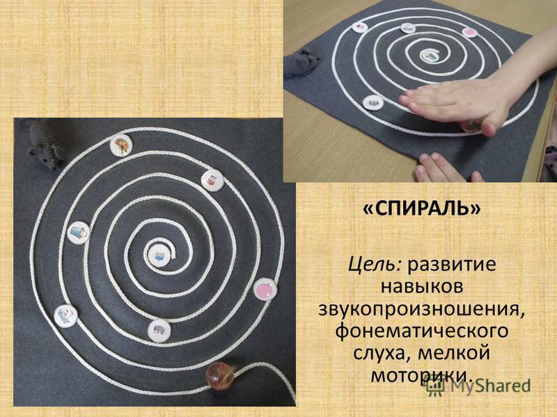 «СПИРАЛЬ» Цель: развитие навыков звукопроизношения, фонематического слуха, мелкой моторики.