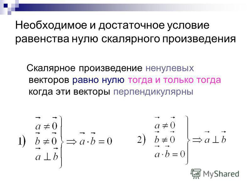Необходимое и достаточное условие равенства нулю скалярного произведения Скалярное произведение ненулевых векторов равно нулю тогда и только тогда когда эти векторы перпендикулярны