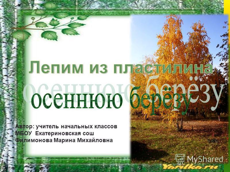 Автор: учитель начальных классов МБОУ Екатериновская сош Филимонова Марина Михайловна
