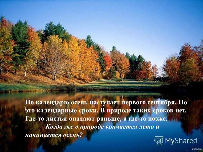 По календарю осень наступает первого сентября. Но это календарные сроки. В природе таких сроков нет. Где-то листья опадают раньше, а где-то позже. Когда же в природе кончается лето и начинается осень? По календарю осень наступает первого сентября. Но