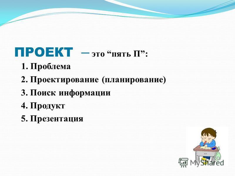 ПРОЕКТ – это пять П: 1. Проблема 2. Проектирование (планирование) 3. Поиск информации 4. Продукт 5. Презентация