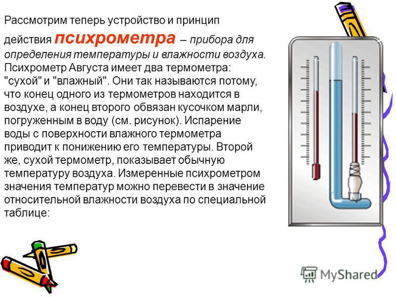 Рассмотрим теперь устройство и принцип действия психрометра – прибора для определения температуры и влажности воздуха. Психрометр Августа имеет два термометра: