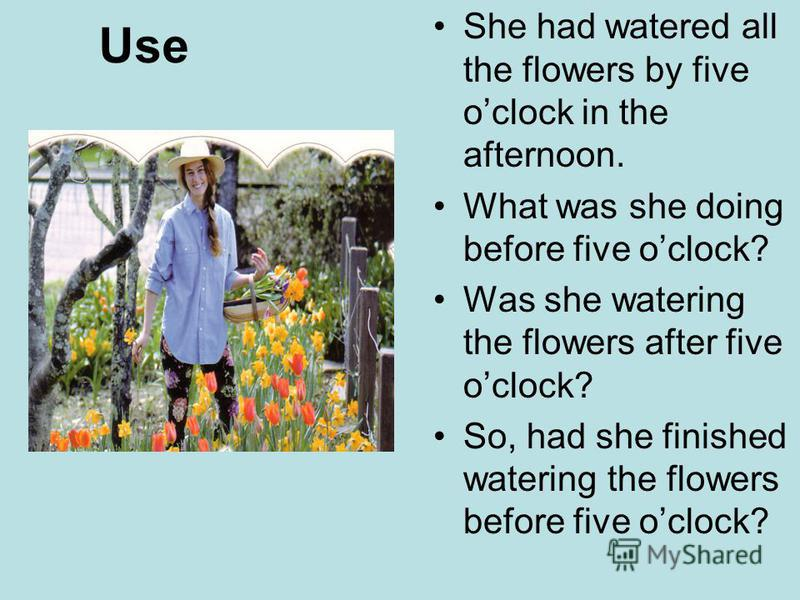 Use She had watered all the flowers by five oclock in the afternoon. What was she doing before five oclock? Was she watering the flowers after five oclock? So, had she finished watering the flowers before five oclock?