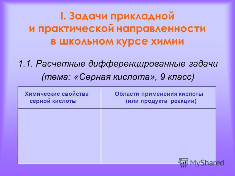 I. Задачи прикладной и практической направленности в школьном курсе химии 1.1. Расчетные дифференцированные задачи (тема: «Серная кислота», 9 класс) Химические свойства Области применения кислоты серной кислоты (или продукта реакции)