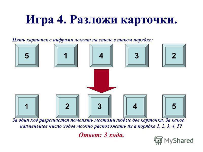 Игра 4. Разложи карточки. Пять карточек с цифрами лежат на столе в таком порядке: За один ход разрешается поменять местами любые две карточки. За какое наименьшее число ходов можно расположить их а порядке 1, 2, 3, 4, 5? Ответ: 3 хода. 1 2 51 345 432
