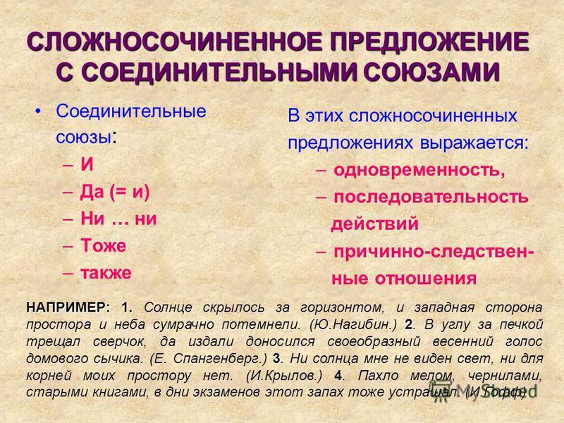 СЛОЖНОСОЧИНЕННОЕ ПРЕДЛОЖЕНИЕ С СОЕДИНИТЕЛЬНЫМИ СОЮЗАМИ Соединительные союзы : –И–И –Да (= и) –Ни … ни –Тоже –также В этих сложносочиненных предложениях выражается: –одновременность, –последовательность действий –причинно-следственные отношения НАПРИМ