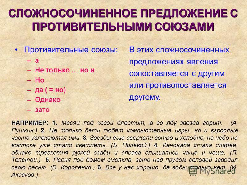 СЛОЖНОСОЧИНЕННОЕ ПРЕДЛОЖЕНИЕ С ПРОТИВИТЕЛЬНЫМИ СОЮЗАМИ Противительные союзы: –а–а –Не только … но и –Но –да ( = но) –Однако –зато В этих сложносочиненных предложениях явления сопоставляется с другим или противопоставляется другому. НАПРИМЕР: 1. 2 3 4