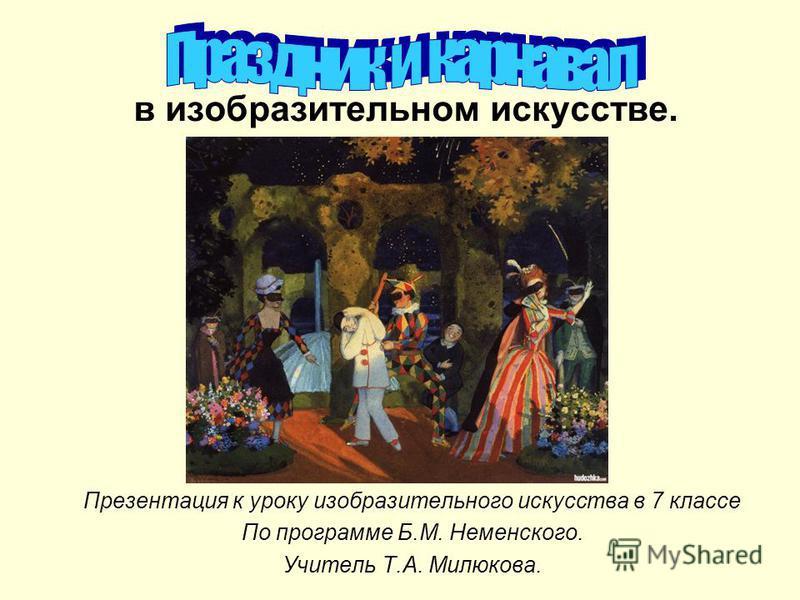в изобразительном искусстве. Презентация к уроку изобразительного искусства в 7 классе По программе Б.М. Неменского. Учитель Т.А. Милюкова.