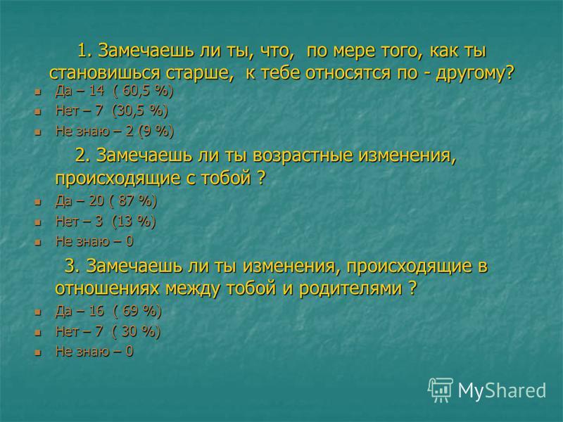 1. Замечаешь ли ты, что, по мере того, как ты становишься старше, к тебе относятся по - другому? Да – 14 ( 60,5 %) Да – 14 ( 60,5 %) Нет – 7 (30,5 %) Нет – 7 (30,5 %) Не знаю – 2 (9 %) Не знаю – 2 (9 %) 2. Замечаешь ли ты возрастные изменения, происх