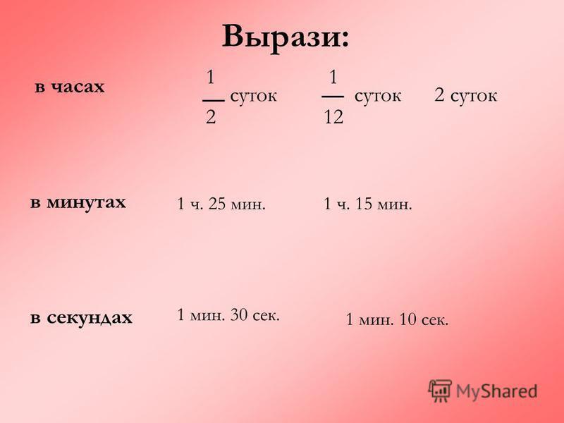 Вырази: в часах в минутах в секундах 1212 суток 1 12 суток 2 суток 1 ч. 25 мин.1 ч. 15 мин. 1 мин. 30 сек. 1 мин. 10 сек.