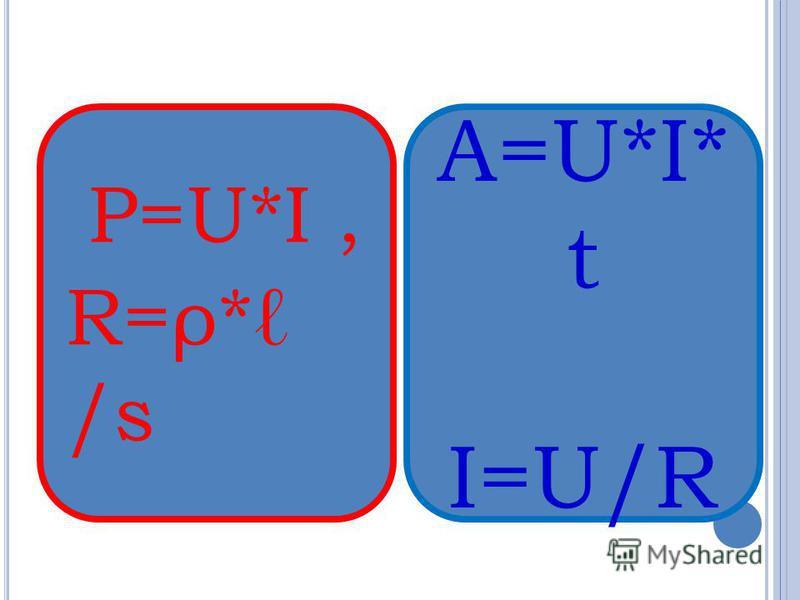 P=U*I, R=ρ* /s A=U*I* t I=U/R