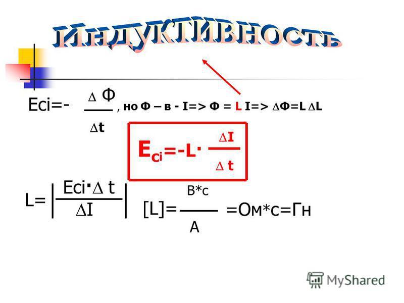 =- L= Ф t, но Ф – в - I=> Ф = L I=> Ф=L L Е с i =-L· I t Есi· t I Есi [L]= B*с A =Ом * с=Гн