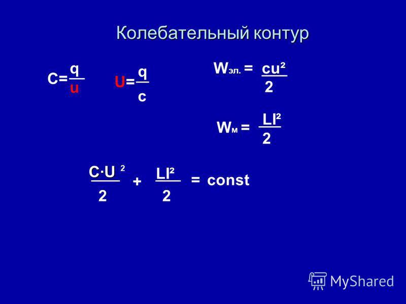 Колебательный контур C·U 22 + LI² =const W эл. = cu² 2 C= q u U=U= q c W м = LI² 2 2