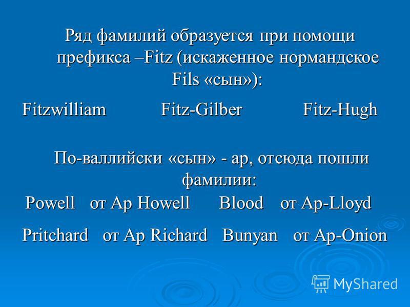 Ряд фамилий образуется при помощи префикса –Fitz (искаженное нормандское Fils «сын»): FitzwilliamFitz-GilberFitz-Hugh По-валлийски «сын» - ap, отсюда пошли фамилии: Powell от Ap Howell Blood от Ap-Lloyd от Ap Richard PritchardBunyan от Ap-Onion