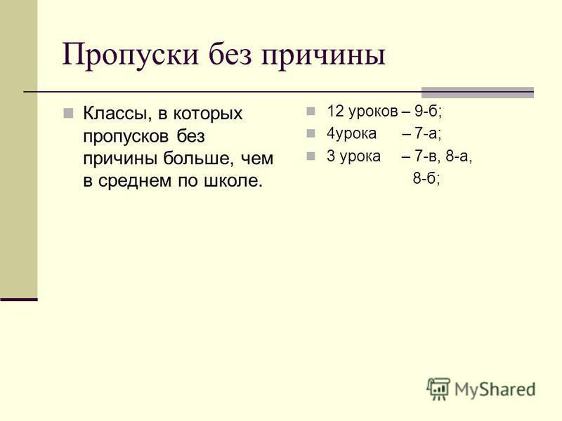 Пропуски без причины Классы, в которых пропусков без причины больше, чем в среднем по школе. 12 уроков – 9-б; 4 урока – 7-а; 3 урока – 7-в, 8-а, 8-б;