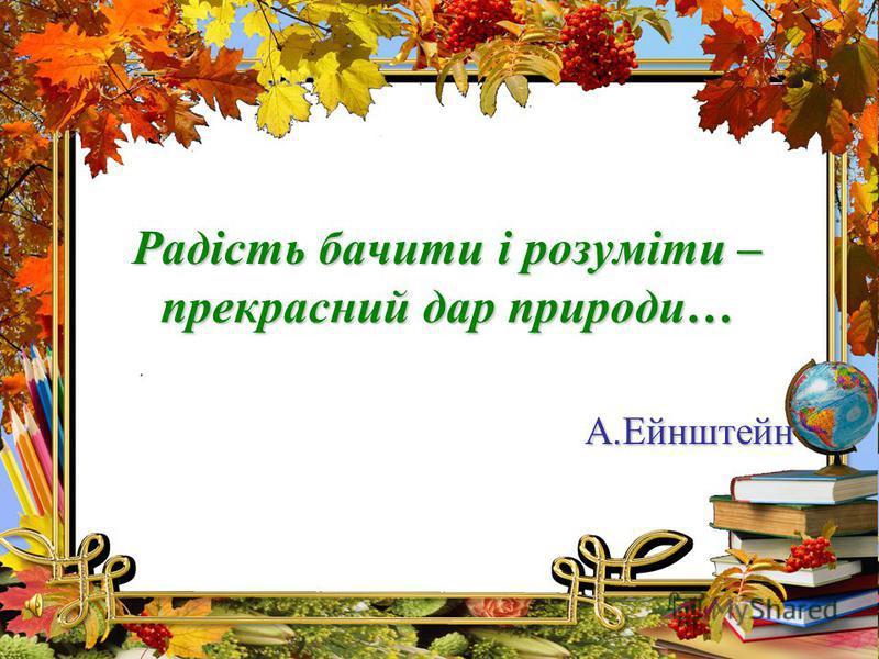Радість бачити і розуміти – прекрасний дар природи… А.Ейнштейн
