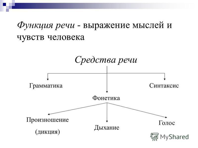 Функция речи - выражение мыслей и чувств человека Средства речи Грамматика Синтаксис Фонетика Голос Дыхание Произношение (дикция)