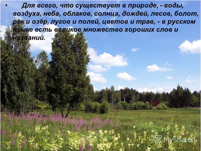 Для всего, что существует в природе, - воды, воздуха, неба, облаков, солнца, дождей, лесов, болот, рек и озёр, лугов и полей, цветов и трав, - в русском языке есть великое множество хороших слов и названий.