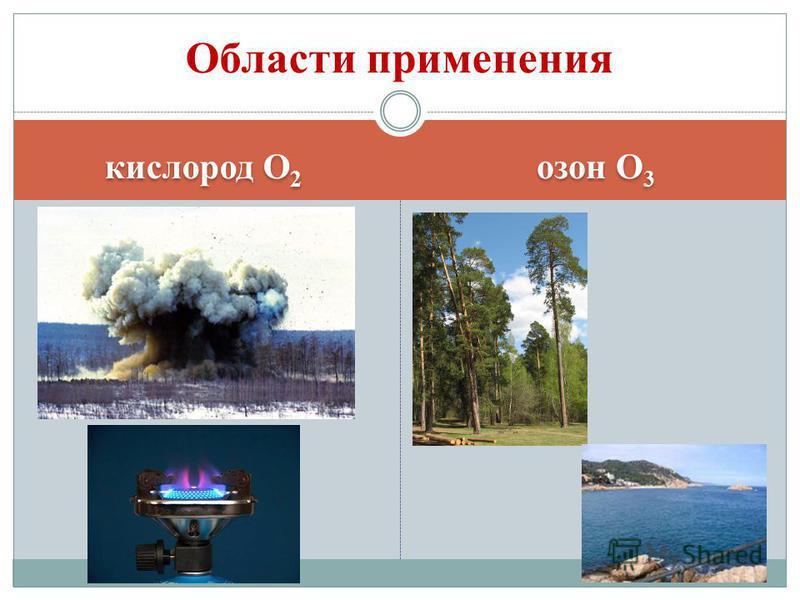 кислород О 2 озон О 3 Области применения