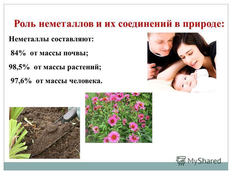 Роль неметаллов и их соединений в природе: Неметаллы составляют: 84% от массы почвы; 98,5% от массы растений; 97,6% от массы человека.
