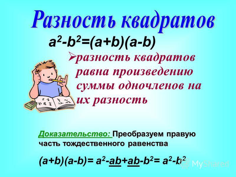 разность квадратов равна произведению суммы одночленов на их разность a 2 -b 2 =(a+b)(a-b) Доказательство: Преобразуем правую часть тождественного равенства (a+b)(a-b)= a 2 -ab+ab-b 2 = a 2 -b 2