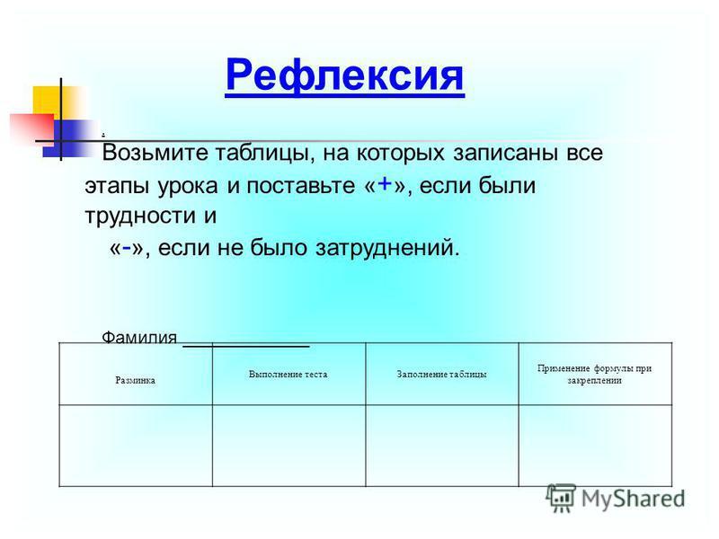 . Возьмите таблицы, на которых записаны все этапы урока и поставьте « + », если были трудности и « - », если не было затруднений. Фамилия _____________ Разминка Выполнение теста Заполнение таблицы Применение формулы при закреплении Рефлексия