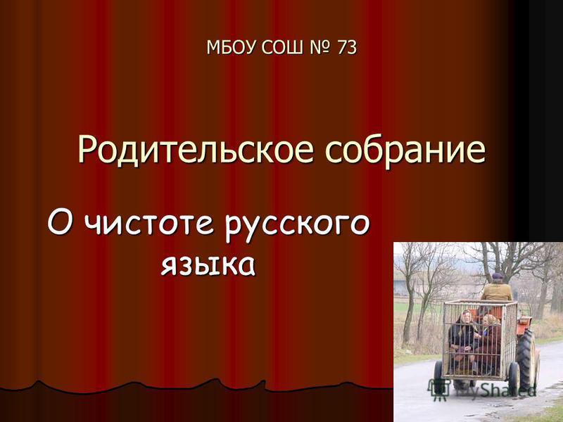 МБОУ СОШ 73 Родительское собрание О чистоте русского языка