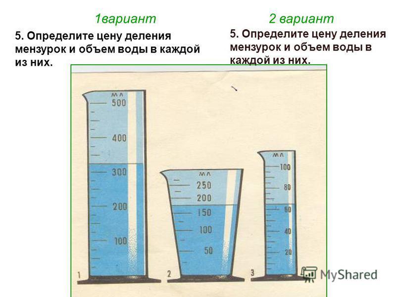 1 вариант 2 вариант 5. Определите цену деления мензурок и объем воды в каждой из них.