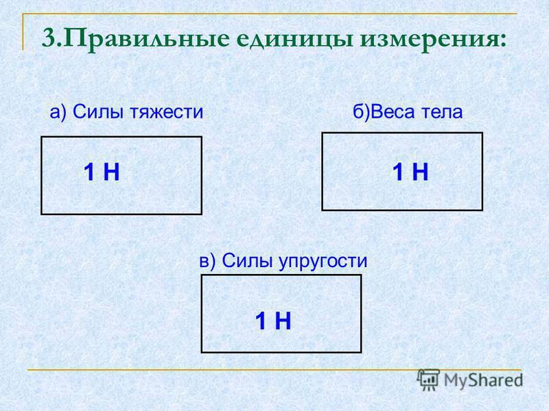 а) Силы тяжести б)Веса тела 1 Н 1 Н в) Силы упругости 1 Н 3. Правильные единицы измерения: