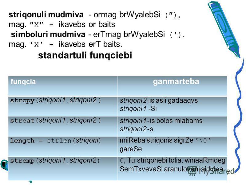 funqcia ganmarteba strcpy( striqoni1, striqoni2 ) striqoni2-is asli gadaaqvs striqoni1 -Si strcat( striqoni1, striqoni2 ) striqoni1-is bolos miabams striqoni2-s length = strlen( striqoni ) miiReba striqonis sigrZe\0 gareSe strcmp( striqoni1, striqoni